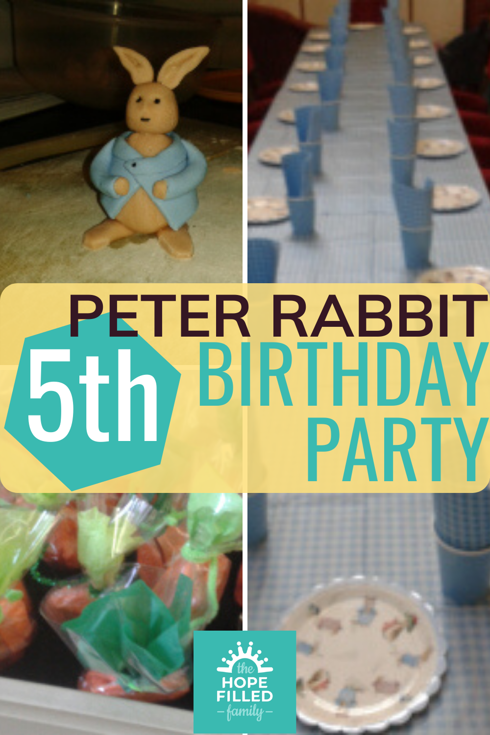 Peter Rabbit themed 5th birthday party for a 5 year old boy. Crafts, games, activities, food and decorations.