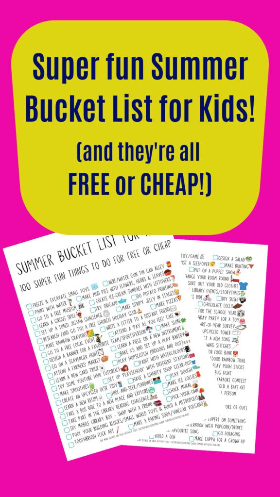 summer bucket list for kids, free summer fun, cheap summer fun, things for kids to do in the summer that don't cost money
