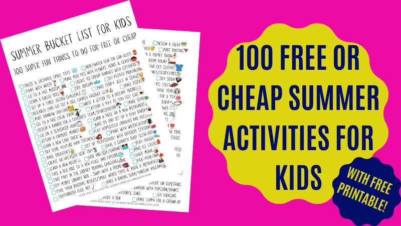 Huge list of free/cheap activities to keep your children happy this summer - with FREE summer bucket list download! #kids #summer #bucketlist #activities #free