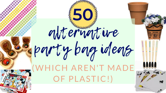 Fun alternative kids party bag ideas for kids to aid a zero waste lifestyle! Loads of ideas for eco party bag fillers with no plastic.