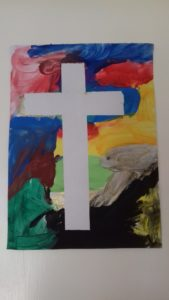 creative lent ideas for families, masking tape cross, easter cards