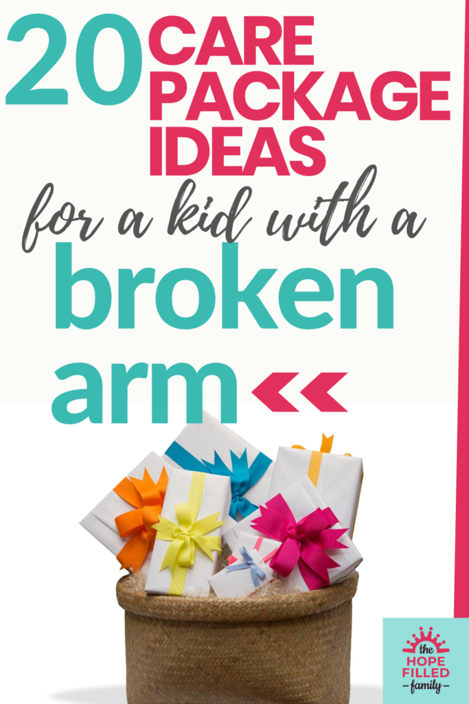 What can I buy for a child with a broken arm? Here are 20 ideas to go in your care package or gift basket, all of which make practical and fun gifts for a child or teenager.