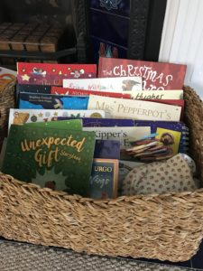 Advent basket of Christmas picture books - from How to Celebrate Advent at Home: 10 Advent Ideas for Families.